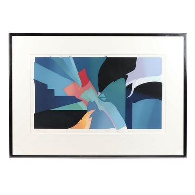 """Eugenie Torgerson Abstract Serigraph """"Cloak of Heaven  - First Detail"""""""