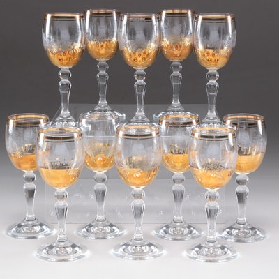 Etched Cordial Glasses with Gilt Rims, Mid-Century