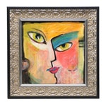 Nelle Ferrara Oil Painting of Abstract Face