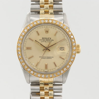 Rolex Datejust 18K Gold, Stainless Steel 1.00 CTW Diamond Automatic Watch,1982