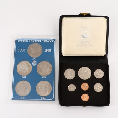 Collection of Five Great Britain Crowns and a 1971 Royal Canadian Mint Proof Set