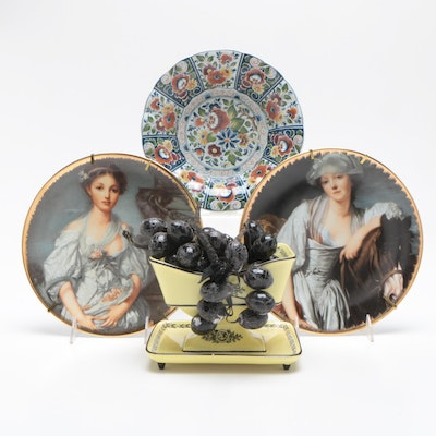 Limoges Porcelain Plates after Greuze, Mottahedeh Center Piece, and Delft Plate