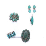 Sterling Silver Dyed Turquoise and Imitation Turquoise Rings and Earrings