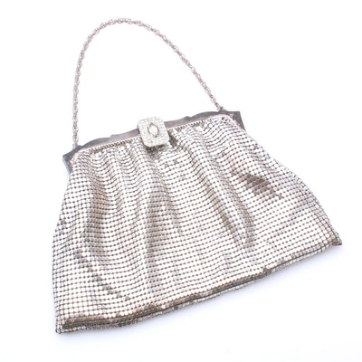 Whiting & Davis Mesh Evening Bag with Rhinestone Clasp, Mid-20th Century