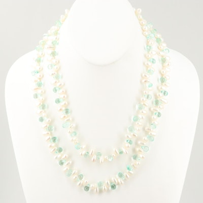 Cultured Pearl and Glass Bead Necklace
