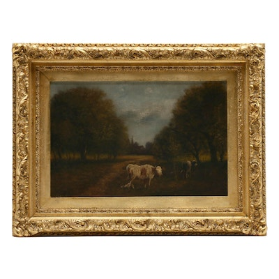 Jacques Durant Oil Painting of Pastoral Scene with Cattle