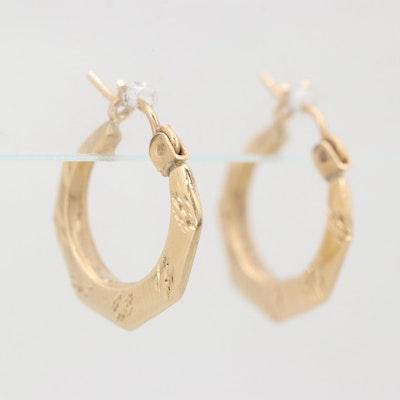 14K Yellow Gold Hollow Hoop Earrings
