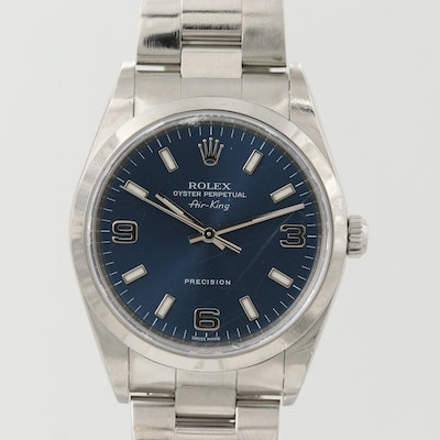Rolex Air-King Stainless Steel Automatic Wristwatch With Box and Papers, 2001