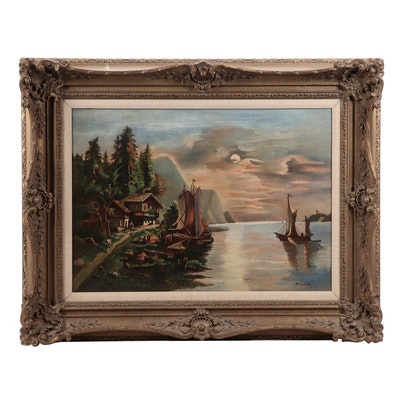 Naive Style Oil Painting of Lake Scene with Boats and Cabin