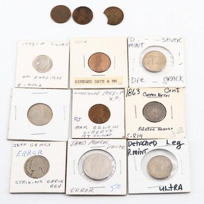 Eleven Antique to Modern U.S. Error Coins