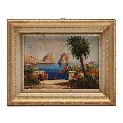 Mid 20th Century Oil Painting of Tropical View with the Sea