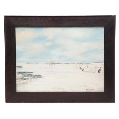 "Frank D. MacKean Gouache Painting ""Winter in North Hudson Bay"""