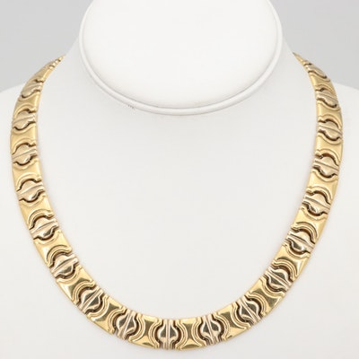 Italian 18K Yellow and White Gold Collar Necklace