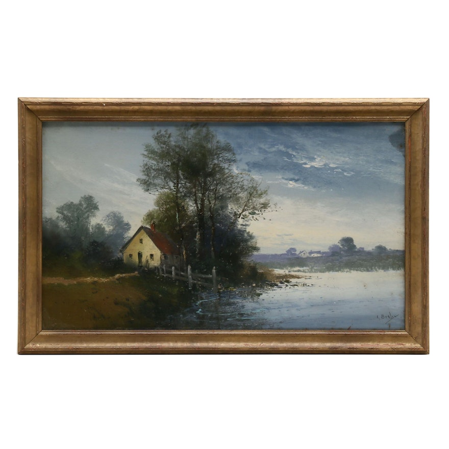 Clarence Braley Pastel Drawing of Lakeside Cabin