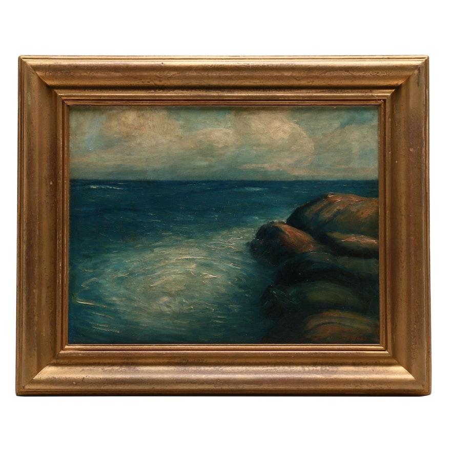 Anton Henry Dahl 1938 Seascape Oil Painting