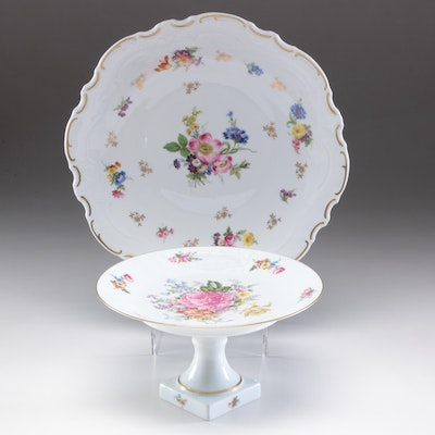 LeClair Limoges Porcelain Compote and Reichenbach Serving Plate, Mid-Century