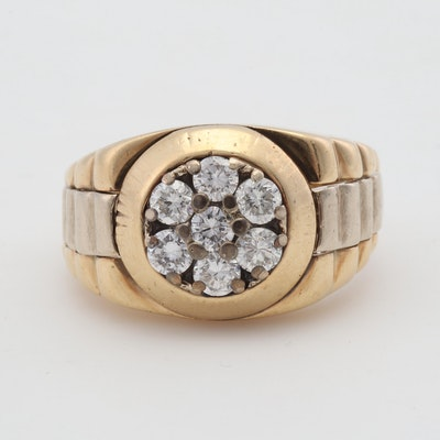 14K Two Tone Gold Diamond Watch Style Ring, 1.20 CTW
