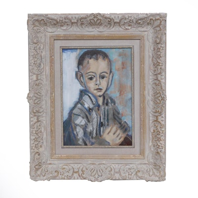 Early 20th Century Fauvist Style Portrait Oil Painting