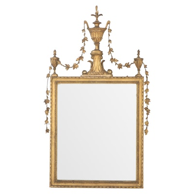 Adam Style Giltwood and Gesso Wall Mirror, Late 19th Century