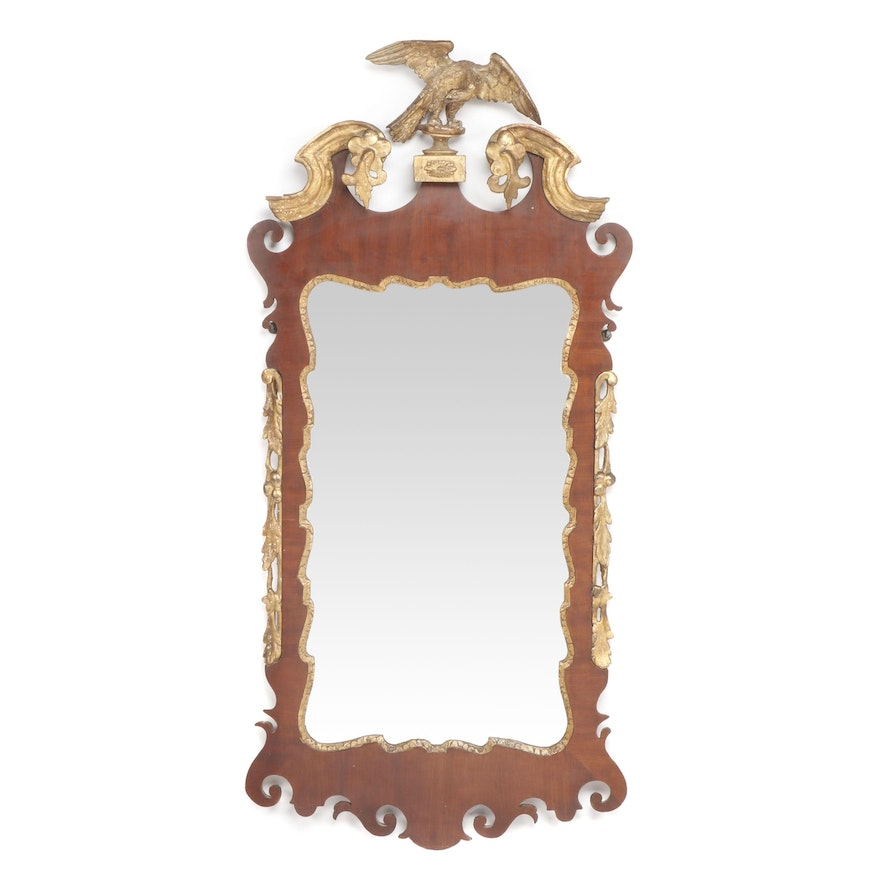 George III Mahogany and Parcel-Gilt Fret-Carved Mirror, Early 19th Century