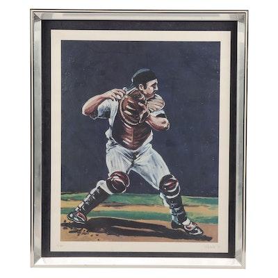 Thurman Munson Limited Edition Framed Baseball Lithograph, COA