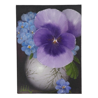 "Thuthuy Tran Oil Painting ""Pansy and Blue Anemone Flower"""