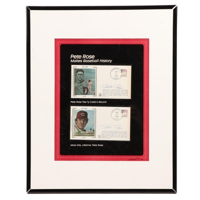 "1985 Pete Rose Signed ""Makes Baseball History"" Framed Postal Covers Display"