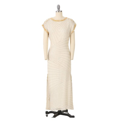 Oleg Cassini Embellished Silk Evening Dress with Bead and Sequins