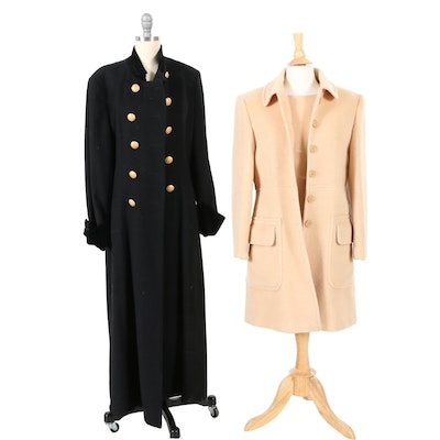 Mondi Black Wool Double-Breasted Coat and Laurèl Tan Wool Blend Coat and Dress