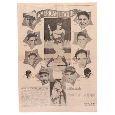 "1938 ""Cincinnati Post"" All-Star Game Crosley Field Newspaper Insert"