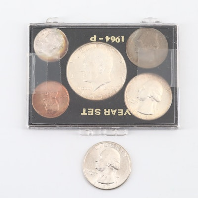 1964 U.S. Coin Type Set and a 1950-S Uncirculated Washington Silver Quarter