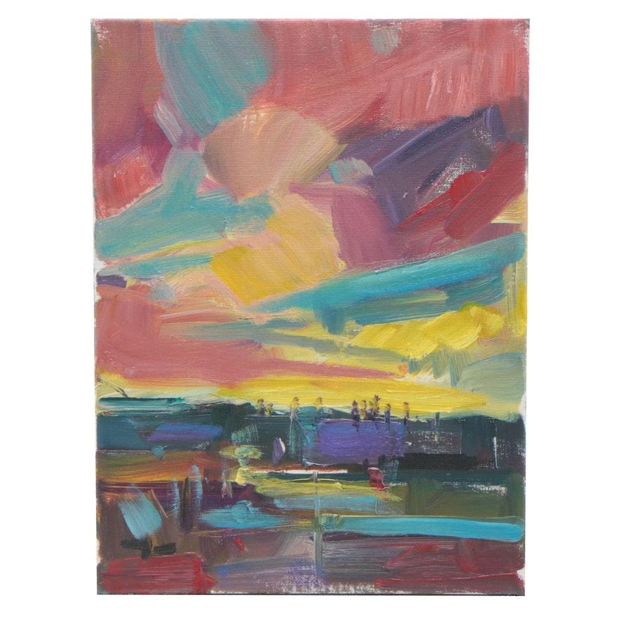"Jose Trujillo Oil Painting ""Dramatic Sky"""