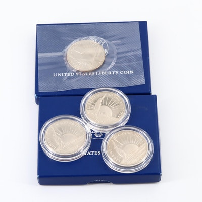 Four 1986 Statue of Liberty Commemorative Half Dollars, Proof and Uncirculated