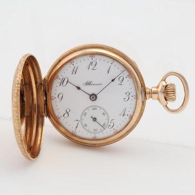 14K Rose Gold Vintage Illinois Pocket Watch with Hunter Case