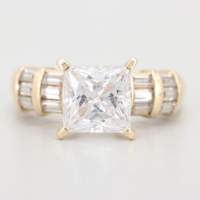 14K Yellow Gold Cubic Zirconia Engagement Ring