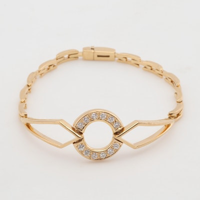 18K Yellow Gold Gianni Caritá Diamond Circle Bracelet