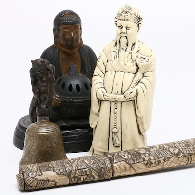 Japanese Figurines, Bell, and Wakizashi, Mid to Late 20th Century