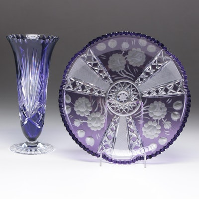 Bohemian Style Cut to Clear Vase and Serving Tray, Mid-Century