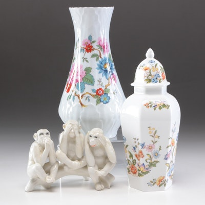 LeClair Porcelain Vase, Aynsley Ginger Jar and Karl Ens Figurine