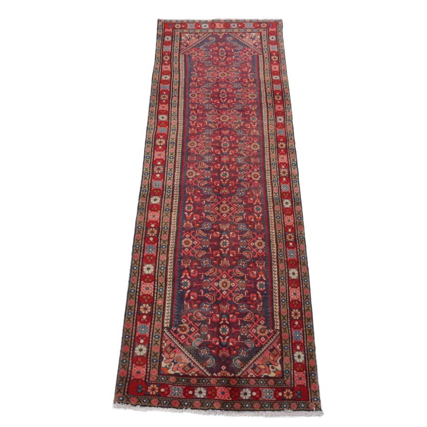 Hand-Knotted Persian Zanjan Wool Rug Runner, Circa 1960s