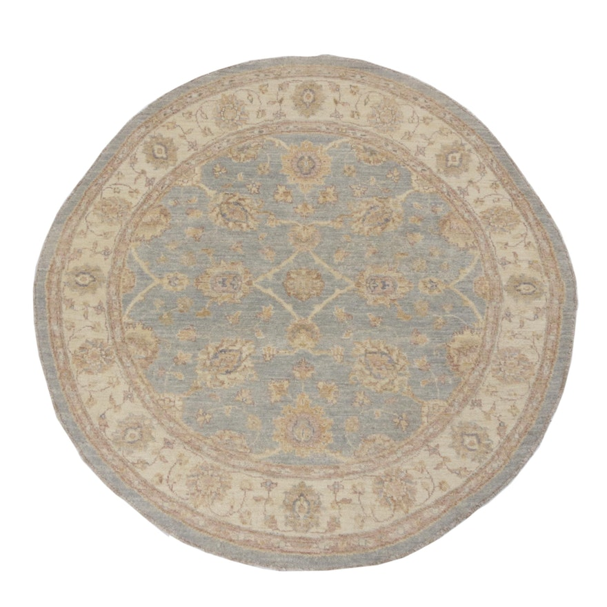 Hand-Knotted Pakistani Persian Tabriz Wool Round Rug