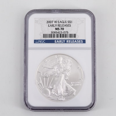 NGC Graded MS70 Early Releases 2007-W Silver American Eagle $1 Coin