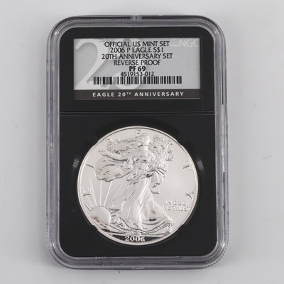 NGC Graded PF69 Reverse Proof Silver American Eagle $1 Coin