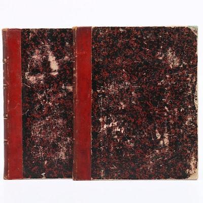 """1872 """"Traité de Géométrie Descriptive"""" Two Volume Set by C. F. A. Leroy"""