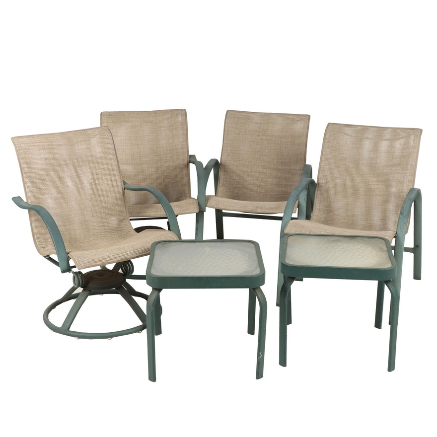 Astounding Swivel And Stationary Metal Framed Patio Chairs With Side Tables Contemporary Andrewgaddart Wooden Chair Designs For Living Room Andrewgaddartcom