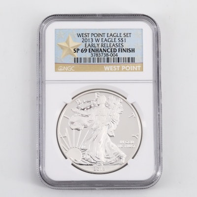NGC Graded SP69 2013-W Silver American Eagle $1 Coin
