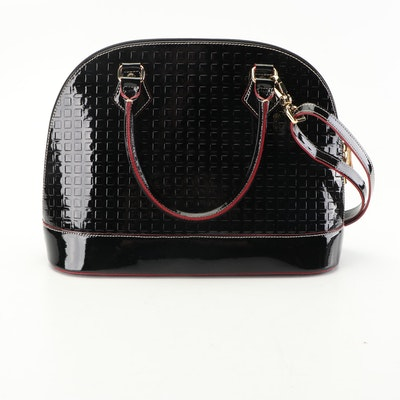 Arcadia Embossed Black Patent Leather Convertible Shoulder Bag Accented in Red