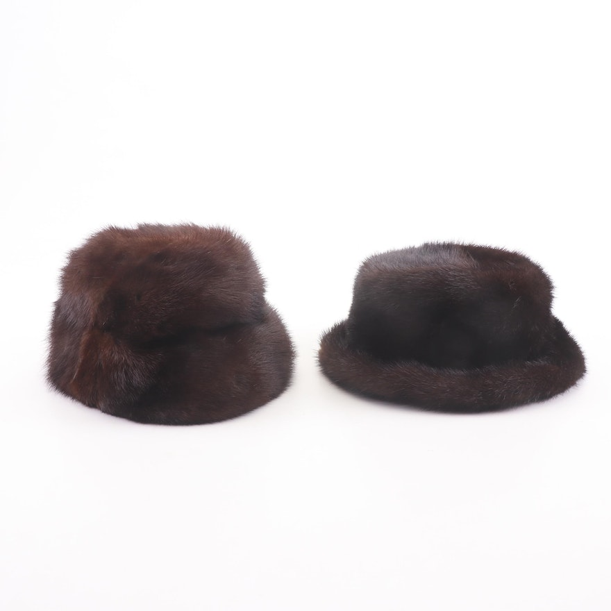 Mr. John Jr. Elite Furs and Fabiani Mink Cloche and Fedora Hats, Vintage