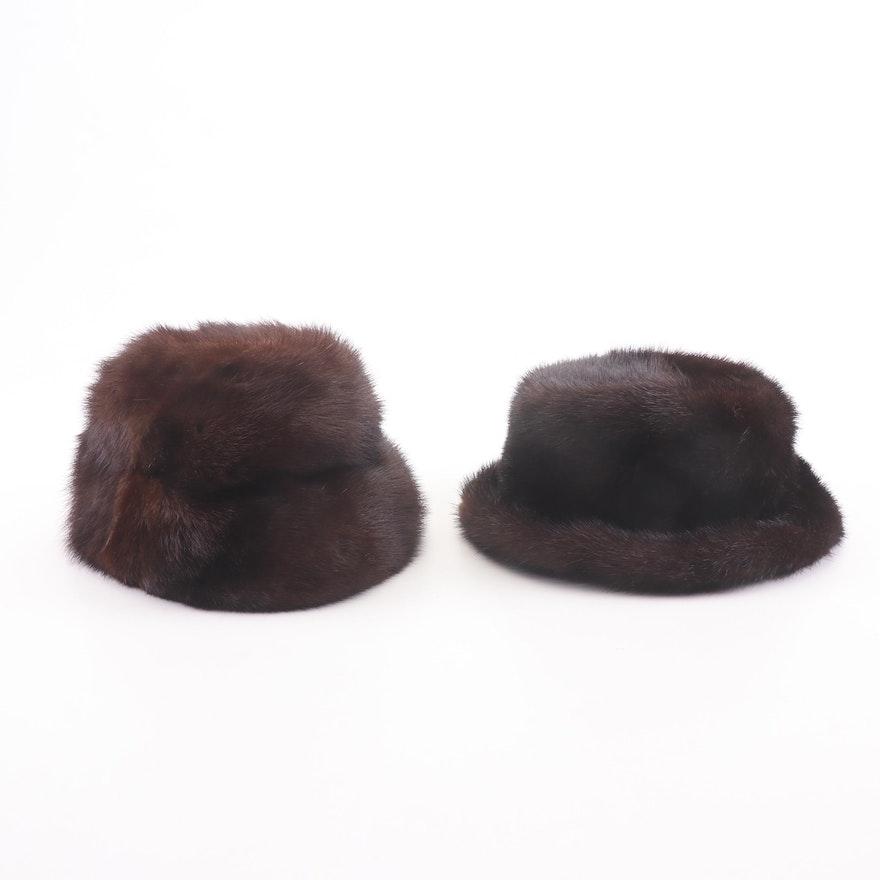 Mr. John Jr. Elite Furs and Fabiani Mink Cloche and Fedora Hats, Vintage