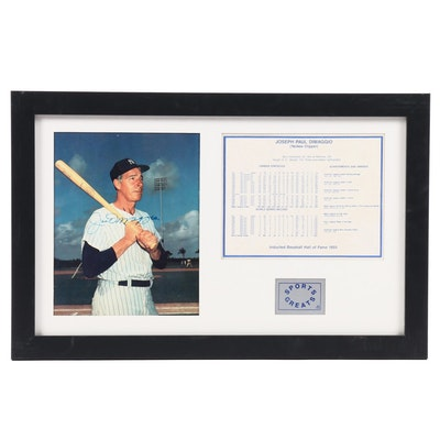 Framed Joe DiMaggio Signed Hall of Fame Display, Full JSA Letter